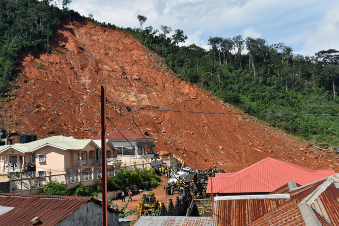 The second day of efforts to recovery bodies at the scene of a devastating mudslide at Sugar Loaf Mountain in Freetown, Sierra Leone, on Aug. 15. Photo by Phileas Jusu, UMNS.