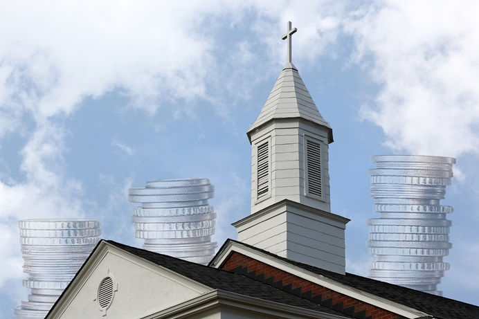 For four straight years, a record number of U.S. conferences have contributed to general church funds. Church: Steven Kyle Adair, clouds: Kathleen Barry, UMCom; coins: Kevin Schneider, courtesy of Pixabay; illustration: Laurens Glass, UMNS.