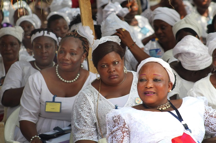 Members of United Methodist Women listen to reports at the group's annual meeting Jan. 26-28 in Tappita, Liberia. Photo by E Julu Swen.