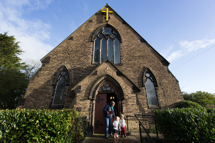 Families with young children leave St. Mary's Methodist Church in Handforth, England, after a nativity service. The church is open every Friday for quiet prayer and conversation. Photo by Mike DuBose, UMNS.