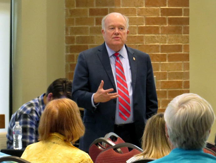 North Texas Conference Bishop Mike McKee leads discussion about the Commission on a Way Forward. McKee has been holding a series of meetings across the conference, and this was one held April 12, 2018, at First United Methodist Church in Richardson, Texas. Photo by Sam Hodges, UMNS.