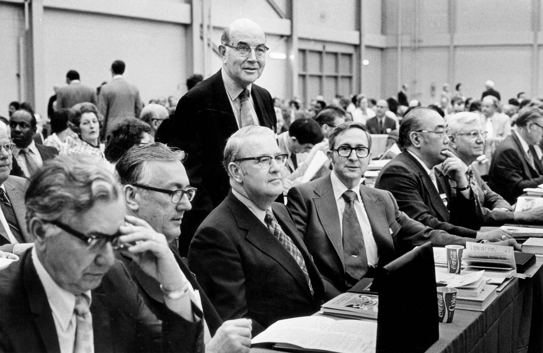 복음주의형제교회와 감리교회가 통합되어 연합감리교회로 출범한 지 4년 후인 1972년 총회에서 성정체성에 대한 최초의 공개적인 논쟁이  벌어졌다. 사진, 연합감리교회 교회역사보존위원회 제공.