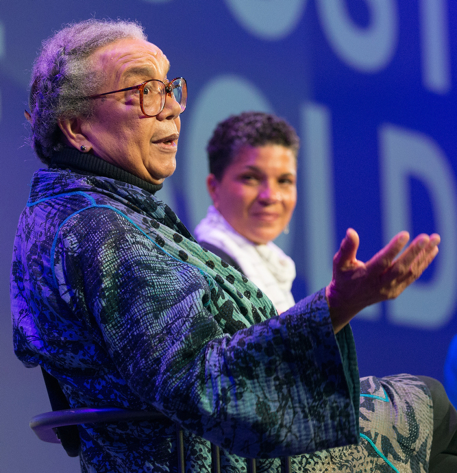 Marian Wright Edelman (left) takes part in a discussion of the