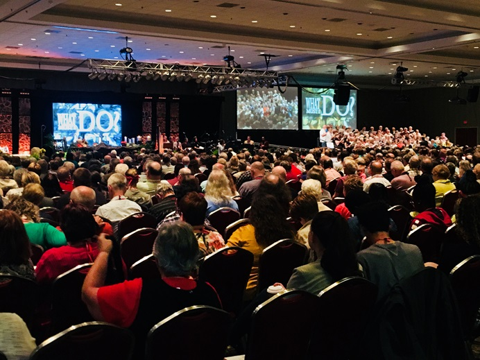 Members of the 2018 Michigan Annual Conference meet in Traverse City, Mich. Conferences, including Michigan, voted on resolutions that signal their aspirations for the special General Conference in 2019. Photo by Kathleen Barry, UMNS.