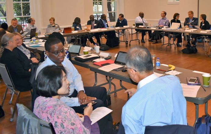 Members of the Commission on a Way Forward meet in small groups during their April 2017 meeting in Washington, D.C. File photo by Maidstone Mulenga, Council of Bishops.