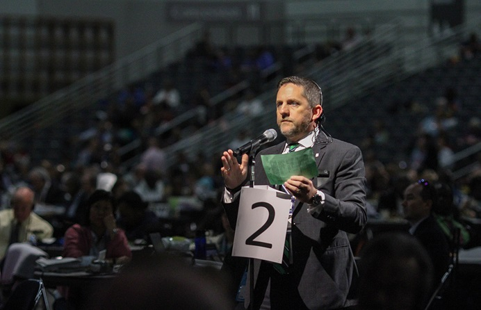 The Rev. Mark Holland, Great Plains Conference,  makes a motion during the May 17 afternoon plenary session of the United Methodist 2016 General Conference in Portland, Ore. Photo by Maile Bradfield, UMNS.