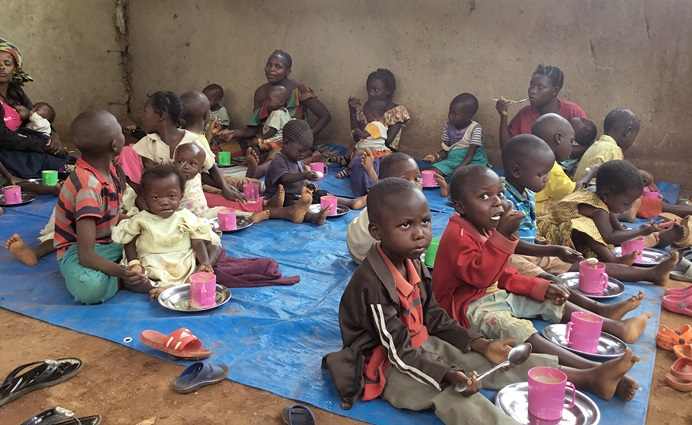 Poorly nourished children receive nutritional supplements at the United Methodist Irambo Health Center in Bukavu, Congo. The program receives support from the Abundant Health program of the denomination's Board of Global Ministries. Photo by Philippe Kituka Lolonga.