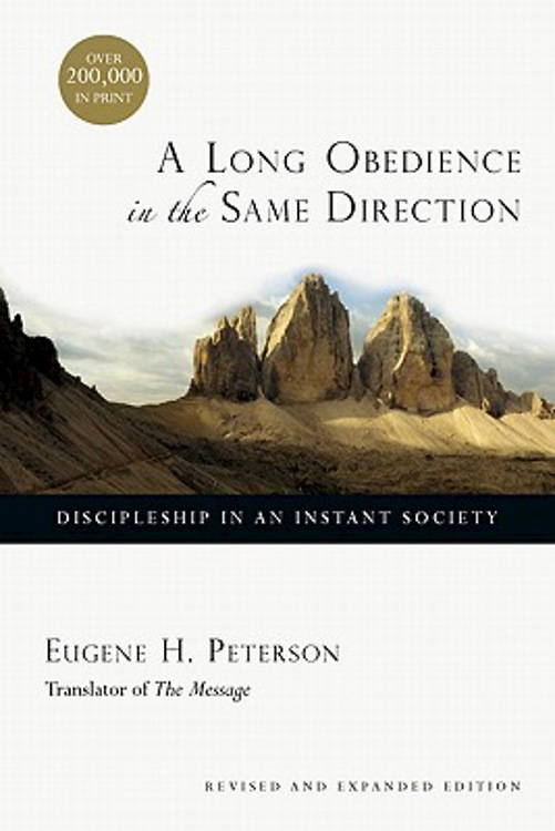 """A Long Obedience in the Same Direction: Discipleship in an Instant Society"" artwork courtesy of Cokesbury.com."