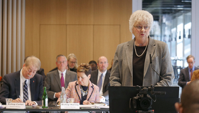 Patricia Miller speaks at the United Methodist Judicial Council meeting in Zurich. Miller, a member of the denomination's Commission on a Way Forward, presented the Connectional Conference plan to the council. Photo by Diane Degnan, UMCom.