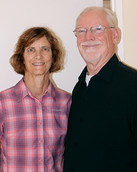 Iowa Area Bishop Laurie Haller and her husband, the Rev. Gary Haller. Photo by Eveline Chikwanah.