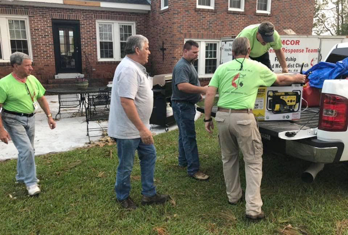 A United Methodist volunteer team from Texas delivers generators to areas of South Georgia left without power in the aftermath of Hurricane Michael. Photo courtesy of the South Georgia Conference.