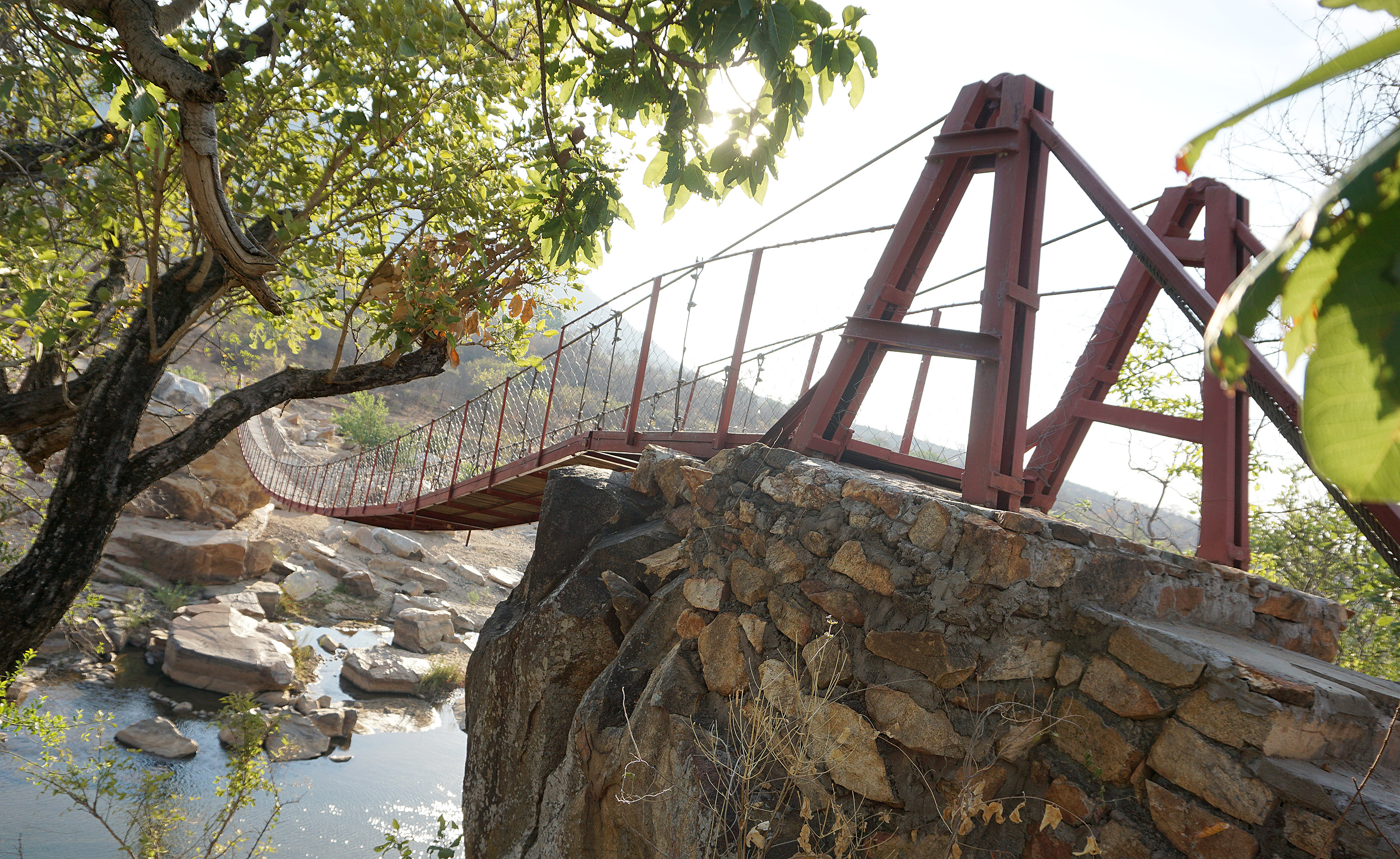 A 164-foot-long suspension bridge donated by United Methodists from Norway spans the Nyan'ombe River in the Shapure community of Nyanga, Zimbabwe. Photo by Kudzai Chingwe, UMNS.