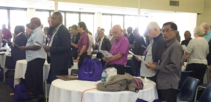 Filipino bishops worship with their colleagues during the United Methodist Council of Bishops November meeting on St. Simons Island, Ga. The Filipino bishops urged United Methodists in the Philippines to continue in holy conversation and prayer leading up to the 2019 General Conference. Photo by Heather Hahn, UMNS.