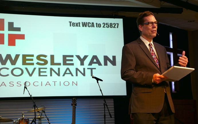The Rev. Thomas Lambrecht addresses the Wesleyan Covenant Association at its April 28-29, 2017, meeting at Christ United Methodist Church in Memphis, Tennessee. Lambrecht, a member of the association's leadership council and vice president of the Good News renewal group, served as emcee for the gathering. Photo by Tim Tanton, UMNS.