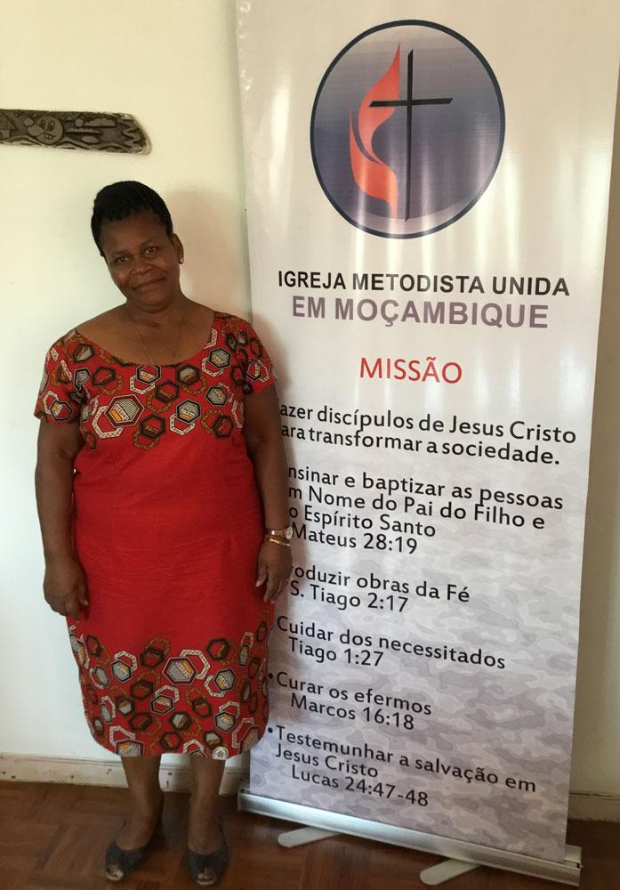 Senhora Esperanca Fernando David, a Presidente das Mulheres Metodistas Unidas, recem-eleita a 29 Outubro de 2018 para a Conferencia do Sul de Moçambique