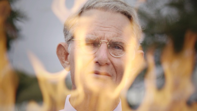 """Ron Blanton plays the Rev. Charles Moore in a re-enactment segment of the new documentary """"Man on Fire."""" Moore, a retired United Methodist elder, set himself on fire in a suicidal protest of racism in 2014. Film image courtesy of """"Man on Fire"""" film."""