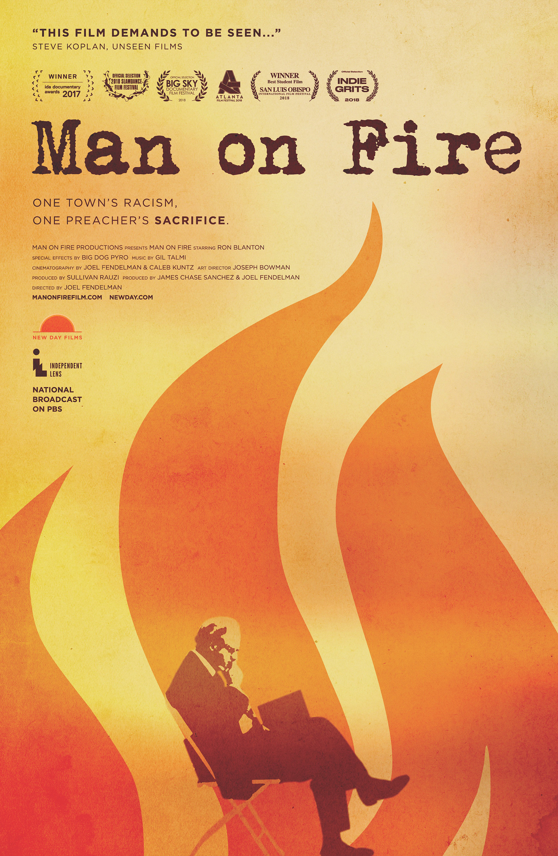 """A poster for """"Man on Fire,"""" a documentary that examines the 2014 self-immolation of retired United Methodist clergyman Charles Moore, and its effect on his East Texas hometown. Image courtesy of """"Man on Fire"""" film."""