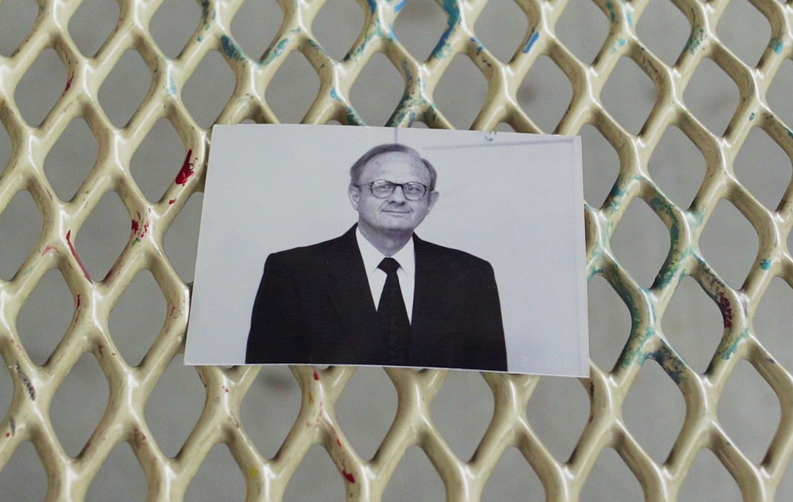 """A photo of the Rev. Charles Moore rests on a table. Photo by Joel Fendelman, courtesy of """"Man on Fire"""" film."""