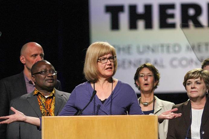 The Rev. Judy Zabel speaks during the 2016 General Conference in Portland, Oregon. She again chairs the Minnesota Conference delegation as it prepares for the special called session of General Conference, set for Feb. 23-26 in St. Louis. File photo by Maile Bradfield, UMNS.