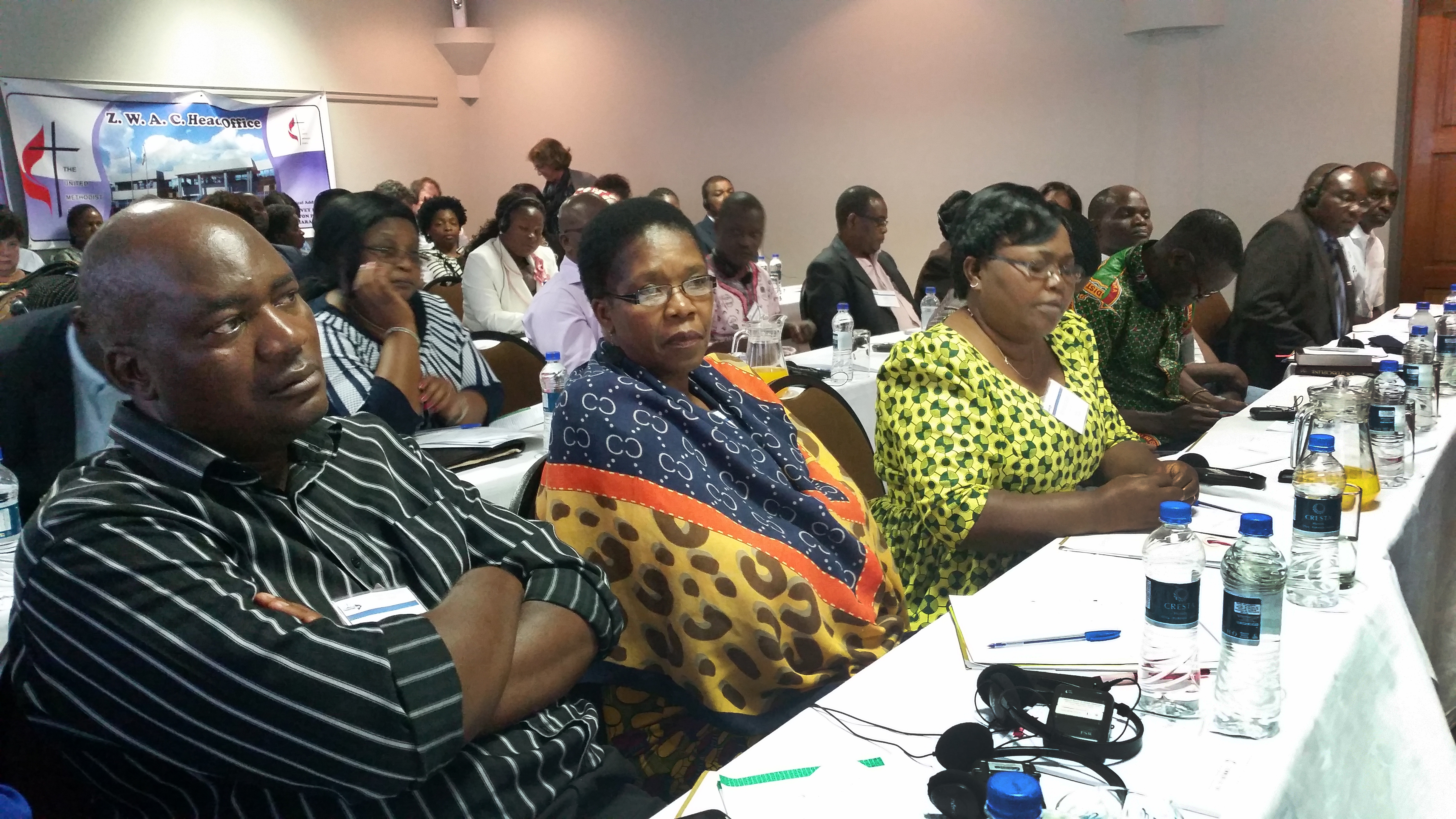 The Rev. Forbes Matonga, Betty Katiyo and the Rev. Annie Grace Chingonzo participate in the 2016 pre-General Conference orientation for Africa Central Conference heads of delegations. Chingonzo remains chair of the Zimbabwe East Conference delegation and says it favors the Traditional Plan, one of the main legislative options to be considered at the 2019 special called session of General Conference. File photo by Eveline Chikwanah, UMNS.