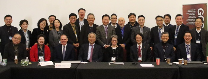 Bishops and leaders of the United Methodist Korean Caucus gather to discuss the current issues of the special General Conference. The meeting took place Dec. 2 at Calvary Korean United Methodist Church in East Brunswick, N.J. Photo by Thomas Kim, UMNS.