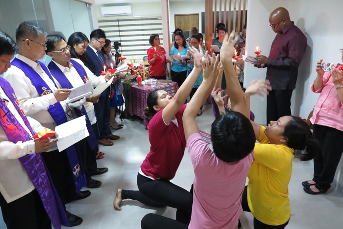 Liturgical dancers participate in the Dec. 18 dedication of the Manila Agency Center in the Philippines, along with area bishops (left) and other guests. Photo by Tim Tanton, UMNS.