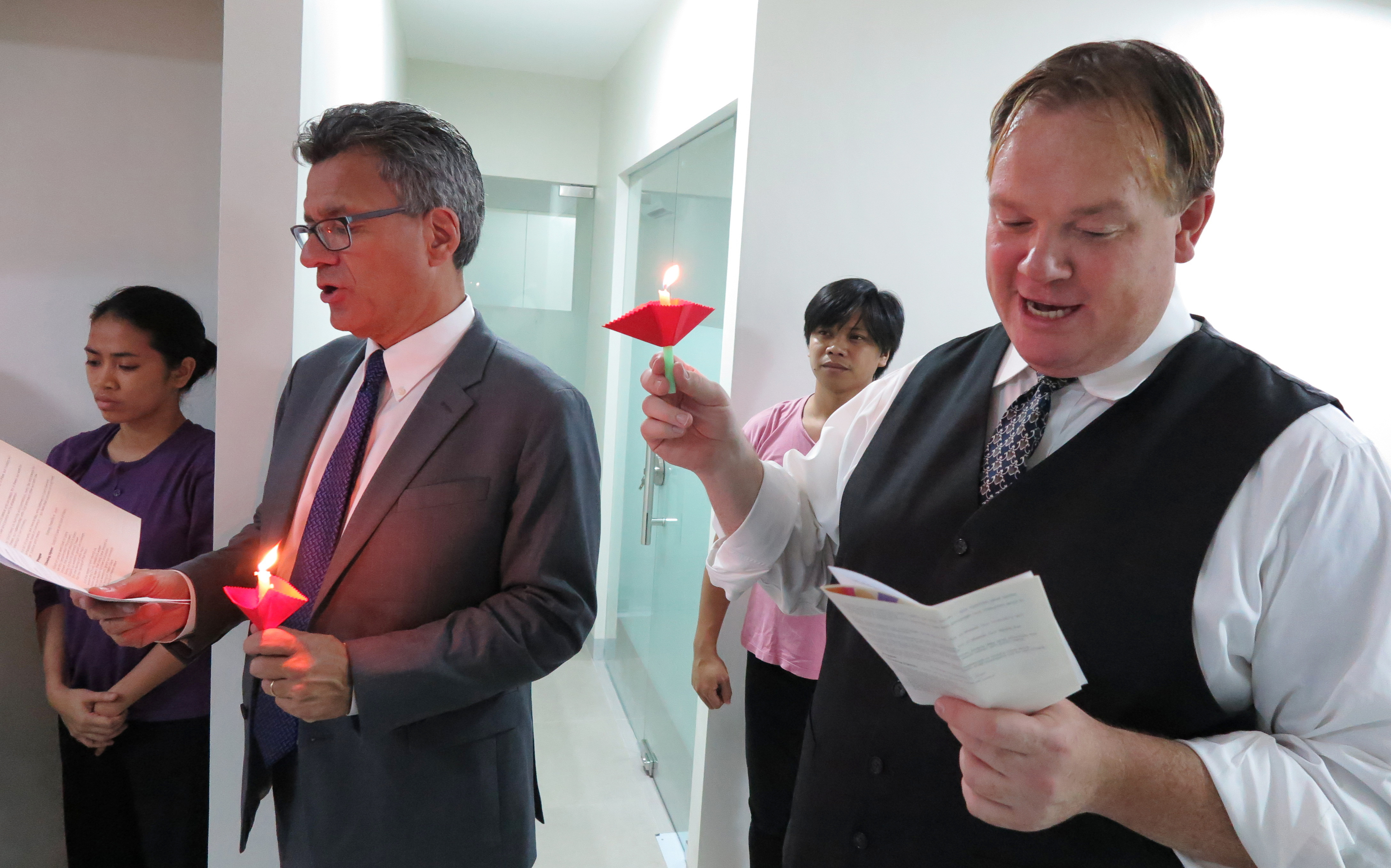 General secretaries Thomas Kemper from Global Ministries and Dan Krause from United Methodist Communications participate in a litany during the dedication ceremony of the new Manila Agency Center. Photo by Tim Tanton, UMNS.