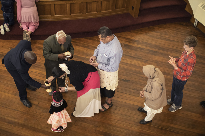 Sunday communion during worship at First United Methodist Church in Salt Lake City.