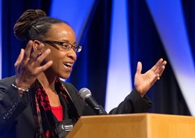 The Rev. Kennetha Bigham-Tsai takes part in a panel discussion during the Pre-General Conference Briefing in Portland, Ore. Photo by Mike DuBose, UMNS