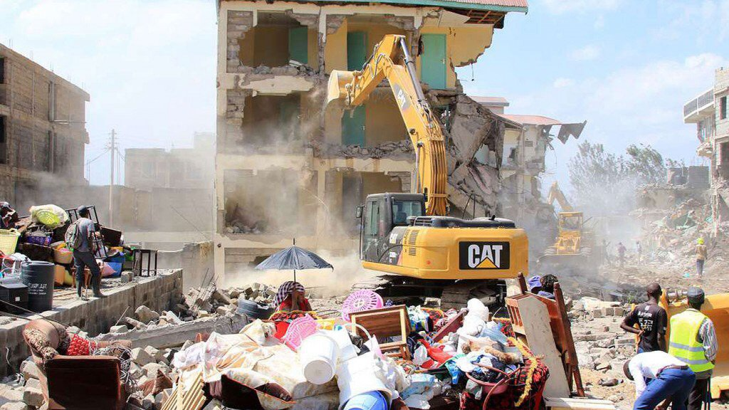 Apartments are demolished in Nairobi, Kenya, including those housing 35 Congo refugees from St. John's United Methodist Church. Photo by Gad Maiga.