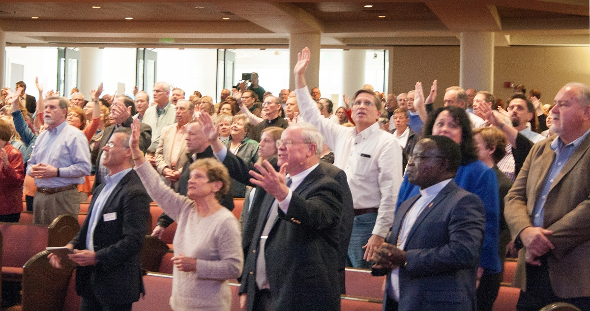 More than 2,500 people joined the Wesleyan Covenant Association's gathering in November at Mt. Bethel United Methodist Church and in 105 simulcast sites. The group is publicizing some of its plans for the immediate aftermath of the special General Conference. Photo by Kathy L. Gilbert, UMNS.