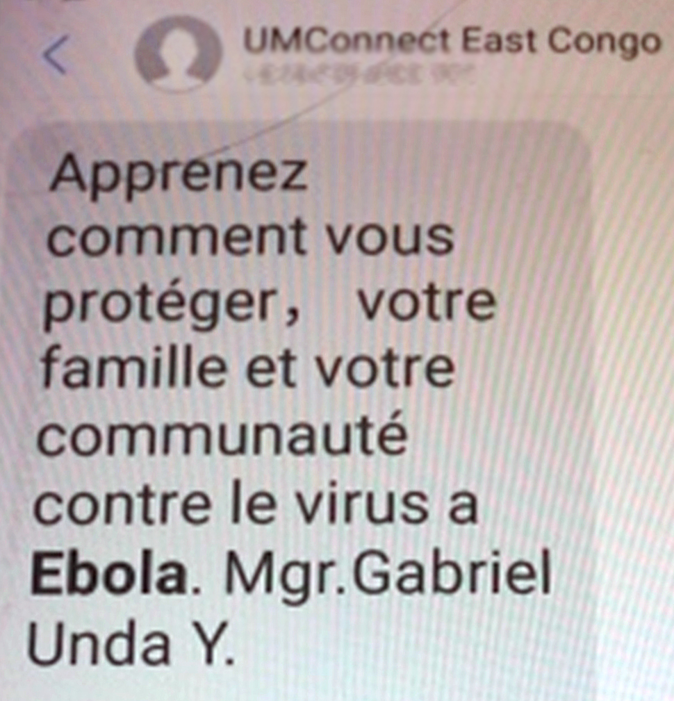 Daily text messages, delivered through United Methodist Communications' UMConnect system, are being sent to raise awareness about Ebola prevention. A recent message from Bishop Gabriel Yemba Unda, Eastern Congo Episcopal Area, urged church members to protect themselves, their families and community from Ebola. Photo by Chadrack Tambwe Londe, UMNS.
