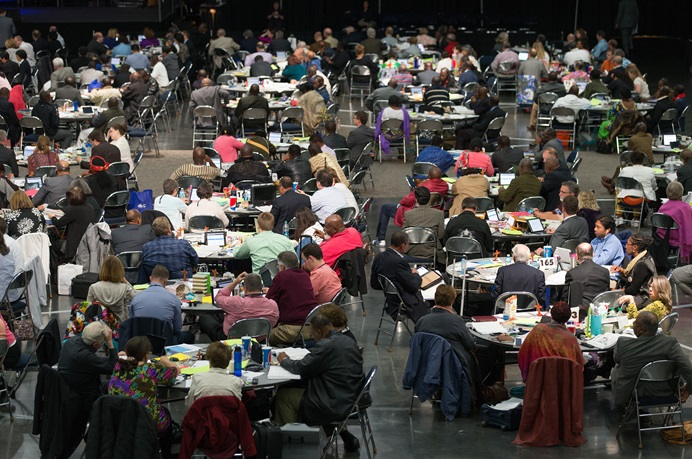 Delegates consider legislation during the 2016 United Methodist General Conference in Portland, Ore. File photo by Mike DuBose, UMNS.