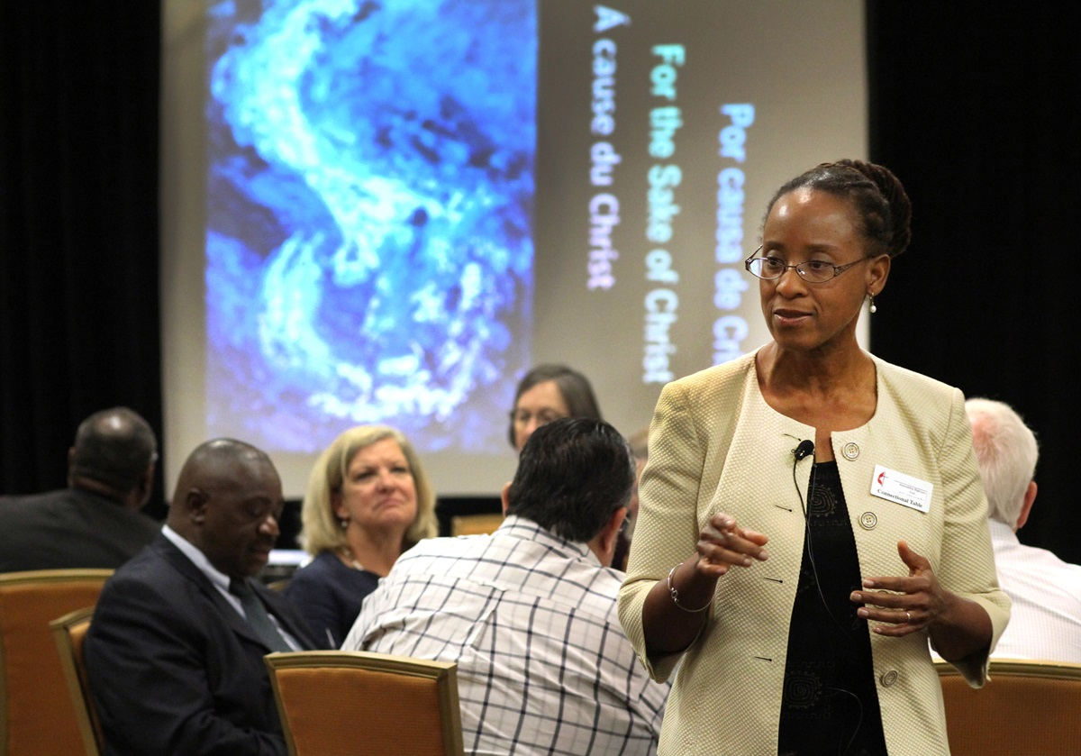 The Rev. Kennetha J. Bigham-Tsai attends a Connectional Table meeting in 2015. Bigham-Tsai, who was a Connectional Table member before becoming its top executive, helped develop the recommended allocations of the 2021-24 general church budget. File photo by Kathleen Barry, UMNS.