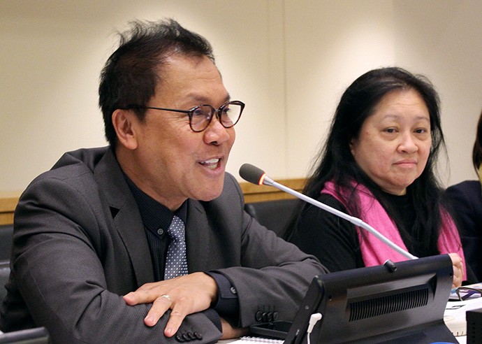 "United Methodists speaking during the Fifth Annual Symposium on the Role of Religion and Faith-Based Organizations in International Affairs at the U.N. included the Rev. Liberato ""Levi"" Bautista, left, a Board of Church and Society executive, and Lidy Nacpil of the Philippines. Photo by Marcelo Schneider, WCC."