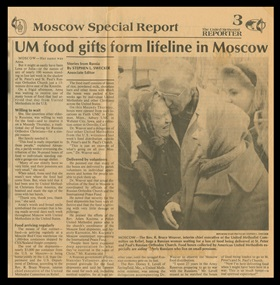 The Rev. Bruce Weaver's leadership with United Methodist relief work in Russia began in the early 1990s, and was featured in the United Methodist Reporter, including this photo of him hugging a Russian woman in line for a food box. Weaver died Feb. 18, at age 97. Document scan courtesy of The Boston School of Theology.