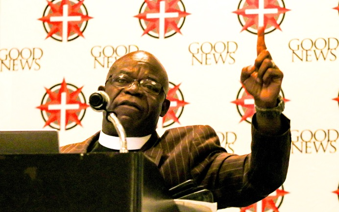 The Rev. Jerry Kulah makes his case for the Modified Traditional Plan during a Feb. 23 breakfast hosted by Good News, an unofficial traditional caucus of The United Methodist Church. The breakfast drew an overflow crowd to a St. Louis hotel on the opening day of the 2019 General Conference. Photo by Steve Beard, Good News.