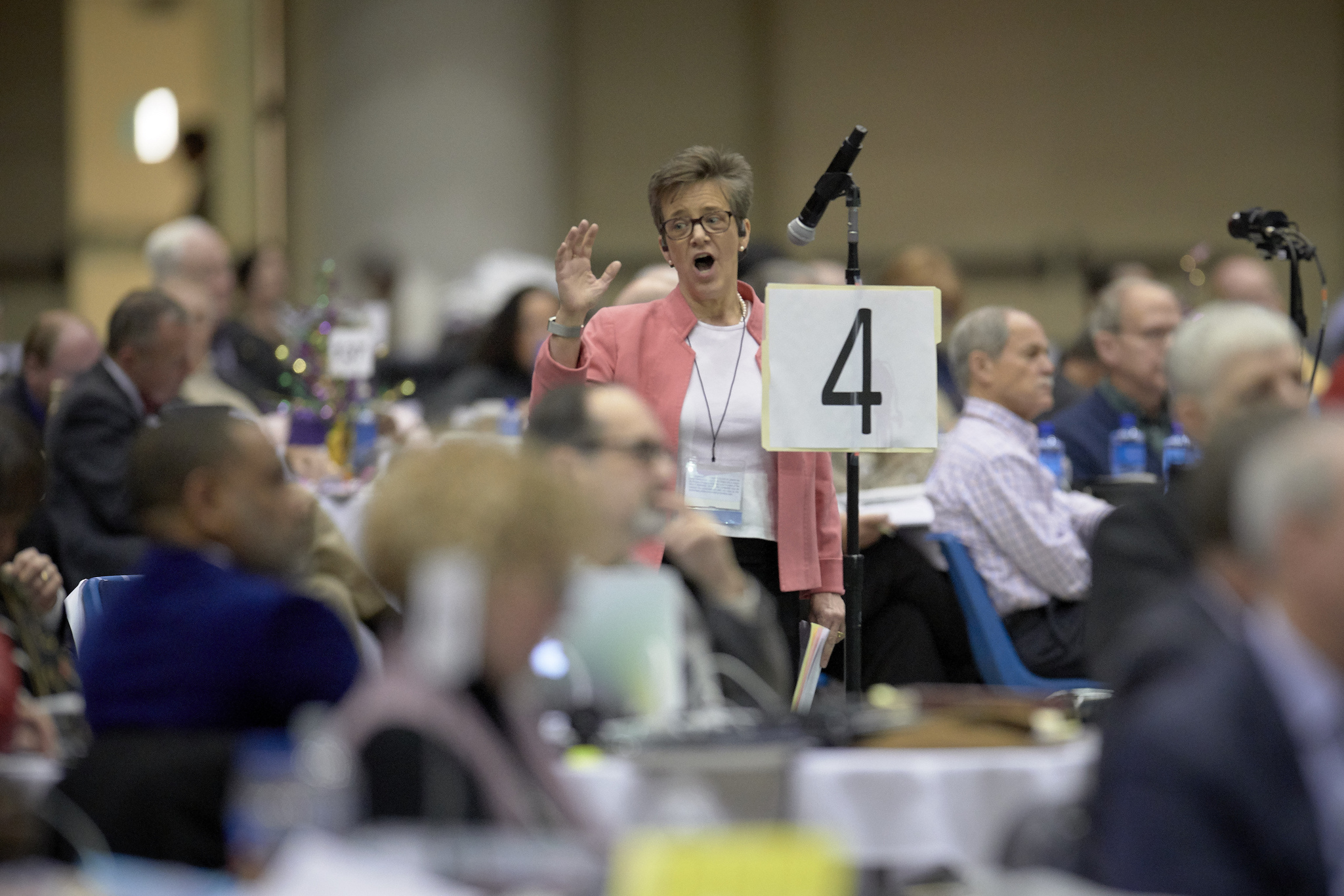 The Rev. Rebekah Miles, an Arkansas Conference delegate, speaks at the 2019 United Methodist General Conference in St. Louis. Miles spoke in favor of postponing a discussion of the Traditional Plan, which she opposes. Photo by Paul Jeffrey, UMNS.