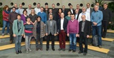 """The executive committee of the United Methodist Church in Germany gathers for a photo during its meeting in Fulda. The committee released a statement saying """"the stipulations of the Traditional Plan are not acceptable for our church in Germany."""" Photo by Klaus Ulrich Ruof."""