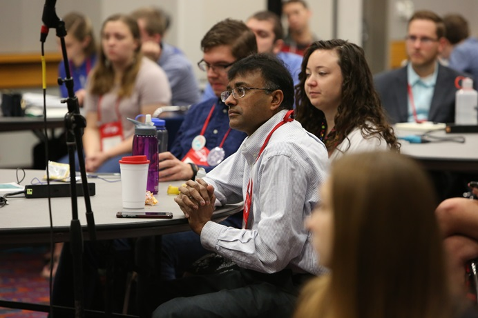 Seminary students ask questions during a briefing at the 2016 General Conference in Portland, Ore. A new study looks at the sustainability and contributions of the 13 United Methodist seminaries in the U.S. File photo by Kathleen Barry, UMNS.