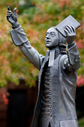 "A statue of John Wesley, the founder of Methodism, stands in the center of campus at Asbury Theological Seminary in Wilmore, Ky. Asbury officials issued a statement that said they were ""thankful"" for the passing of the Traditional Plan. File photo by Mike DuBose, UMNS."