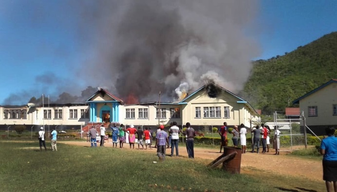 A fire partially destroyed Hartzell High School, a United Methodist school at Old Mutare Mission in Zimbabwe on April 6. Photo by Sengurayi Mashiri.
