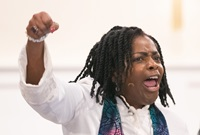 "Bishop Cynthia Moore-Koikoi urges members and guests of Black Methodists for Church Renewal to ""stay woke"" during her sermon at Ben Hill United Methodist Church in Atlanta. ""Stay woke"" is a call to be aware of racial and social justice issues and is closely associated with the Black Lives Matter movement."