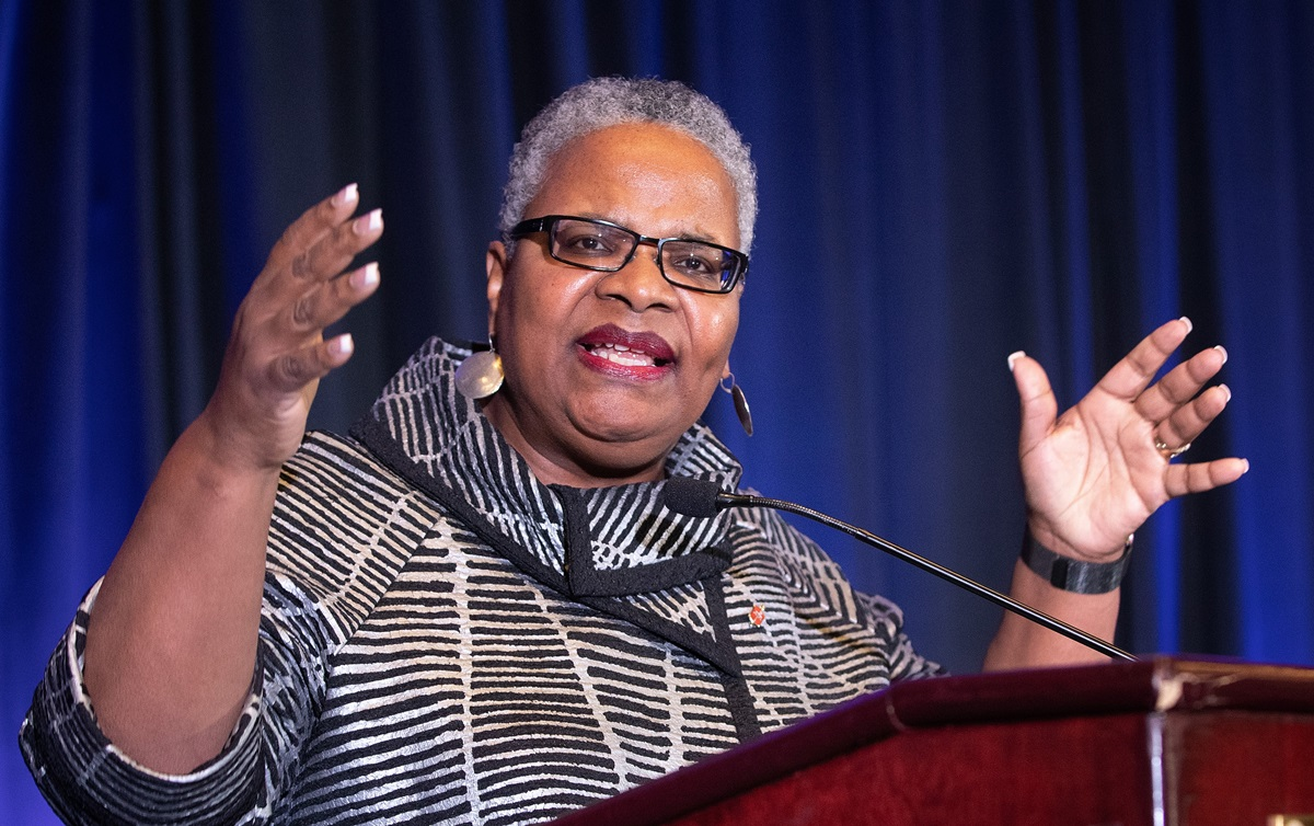 """Bishop LaTrelle Easterling leads a report on the 2019 General Conference during the Black Methodists for Church Renewal meeting in Atlanta. Easterling raised a concern about LGBTQ African Americans in the church, calling them """"the marginalized of the marginalized."""" Photo by Mike DuBose, UMNS."""