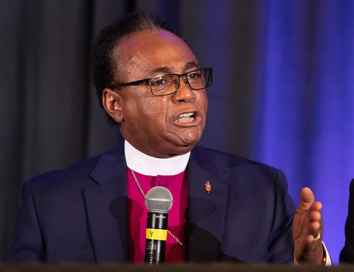 """Bishop James R. King tells members of Black Methodists for Church Renewal that he is """"concerned for all of God's people,"""" following the 2019 General Conference. """"But God spoke to me and said, 'This is my church, and I will take care of it,'"""" King told the group. Photo by Mike DuBose, UMNS."""