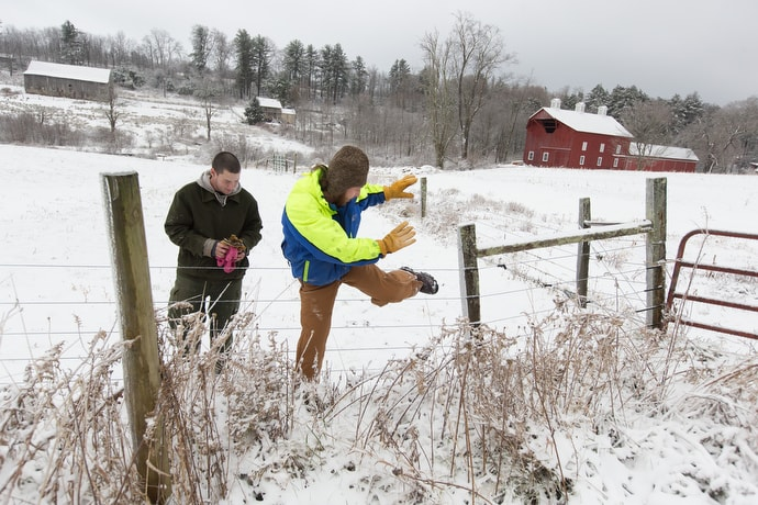 Andy (left) and Jim climb a fence while doing chores at Brookside Farm, part of the Jacob's Ladder recovery home. The program uses the rhythms of farm life to help model a healthy lifestyle. Photo by Mike DuBose, UMNS.
