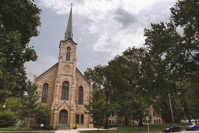 Lindsay Crossman Chapel on Seminary Street at Baldwin Wallace college.  Photo courtesy of Baldwin Wallace University.