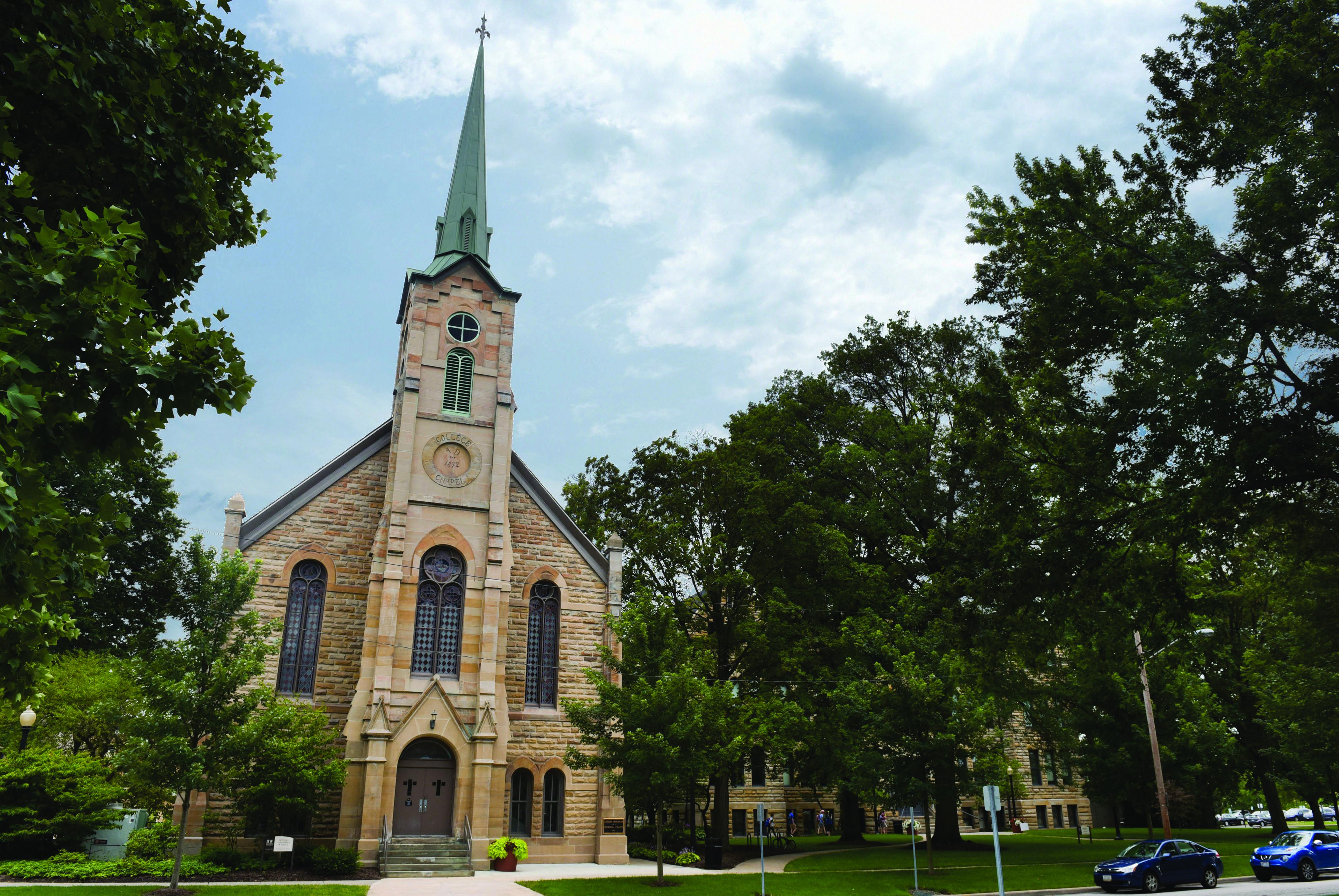 Lindsay Crossman Chapel on Seminary Street at Baldwin Wallace college.  Photo courtesy of Baldwin Wallace University.