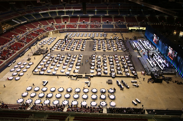 This is an overview of the plenary hall and stage of the Feb. 24 opening worship service for the special called 2019 United Methodist General Conference in St. Louis. Photo by Kathleen Barry, UMNS.