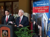 Sen. Richard Lugar (right) and University of Indianapolis president Robert Manuel announce the planned launch of the United Methodist-related school's Richard G. Lugar Academy. Lugar, a long-time member of St. Luke's United Methodist Church in Indianapolis, died April 28, 2019. File photo courtesy of the University of Indianapolis.